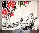 Ambesonne Nature Curtains, Chinese Ink Painting Birds and Blooming Peony Flowers Spring Season Artwork Image, Living Room Bedroom Window Drapes 2 Panel Set, 108W X 84L Inches, Multicolor Review