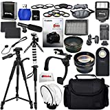 Everything You Need Advanced Video Bundle for Canon T6i, T6s, 750D, 760D (Accessories for 58mm lenses) Includes: 2 Extended Life Replacement Batteries + LED Light + Stabilizer + Microphone & More!