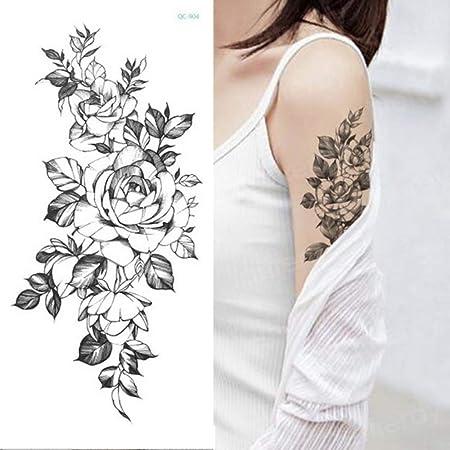 3pcs Autocollant De Tatouage Temporaire Fleur Noir Rose