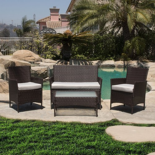 Belleze 4PC Patio Rattan Wicker Chair Sofa Table Set Outdoor Garden Furniture Backyard with Seat Cushion, Brown ()