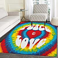 70s Party Rugs for Bedroom Peace and Love Groovy Sixties Tie Dye Heart Shaped Abstract Hippie Rainbow Art Circle Rugs for Living Room 4x6 Multicolor