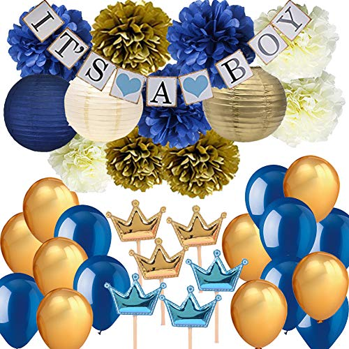 Navy Blue Baby Shower Party Decorations-It's A BOY Banner Tissue Pom Pom Paper Lanterns Balloons with Crown Cupcake Toppers Picks for Royal Prince Baby Shower Nautical Baby Shower 1st Birthday Decor ()