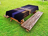 Lunarable Urban Outdoor Tablecloth, Manama City Skyline at Night Kingdom of Bahrain Middle Eastern Modern, Decorative Washable Picnic Table Cloth, 58 X 120 Inches, Orange Purple Dark Blue