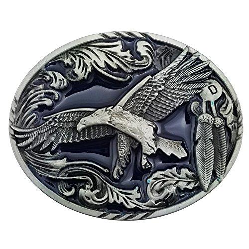 Lanxy American Western Cowboy Eagle Leaf Oval Belt Buckle For Men Blue Enamel Silver (Western Oval Belt Buckle)
