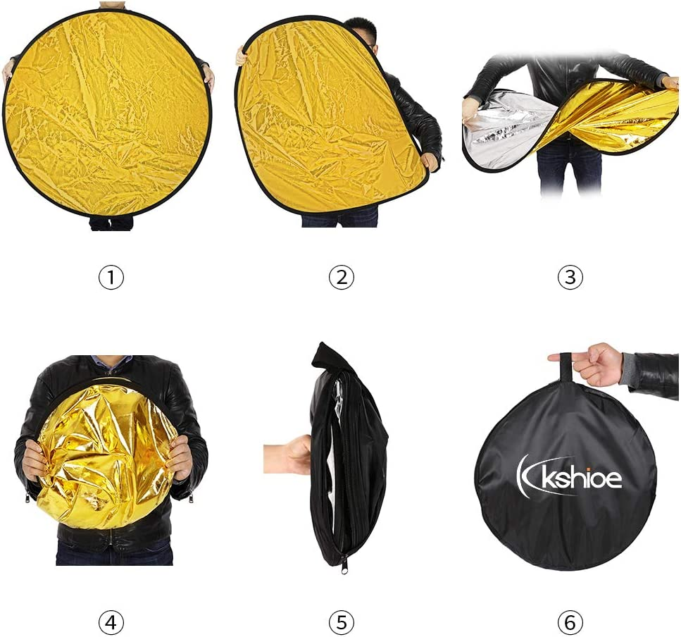 Collapsible Disc Lighting Reflector for Photography Photo Studio /& Outdoor Lighiting Kshioe 5 in 1 43in Photography Reflector with Carry Case