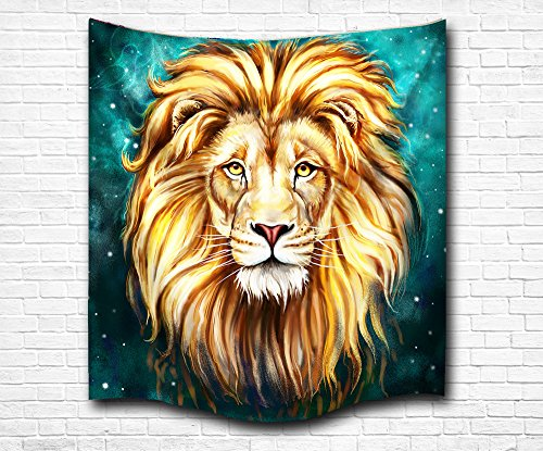 pestry Wall Hanging, Nature Male Lion against Asterism Star Wall Decor Blanket Bohemian Out Space Tapestry 3D Printed Lightweight Design (Out Wall Tapestry)