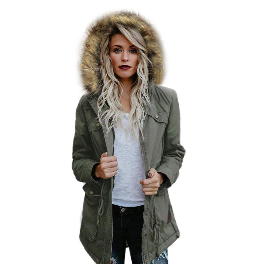 e0b441574 Anglewolf Ladies Solid Cotton Autumn Winter Warm Coat with Fur Hood Parka  Hooded Jacket, Womens Long Jacket Outwear Trench Coat Cardigan