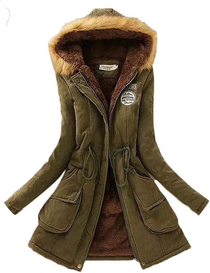 GuGio Kids Girls Winter Parka Warm Jacket Hooded Cotton Overcoat with Fur Hood