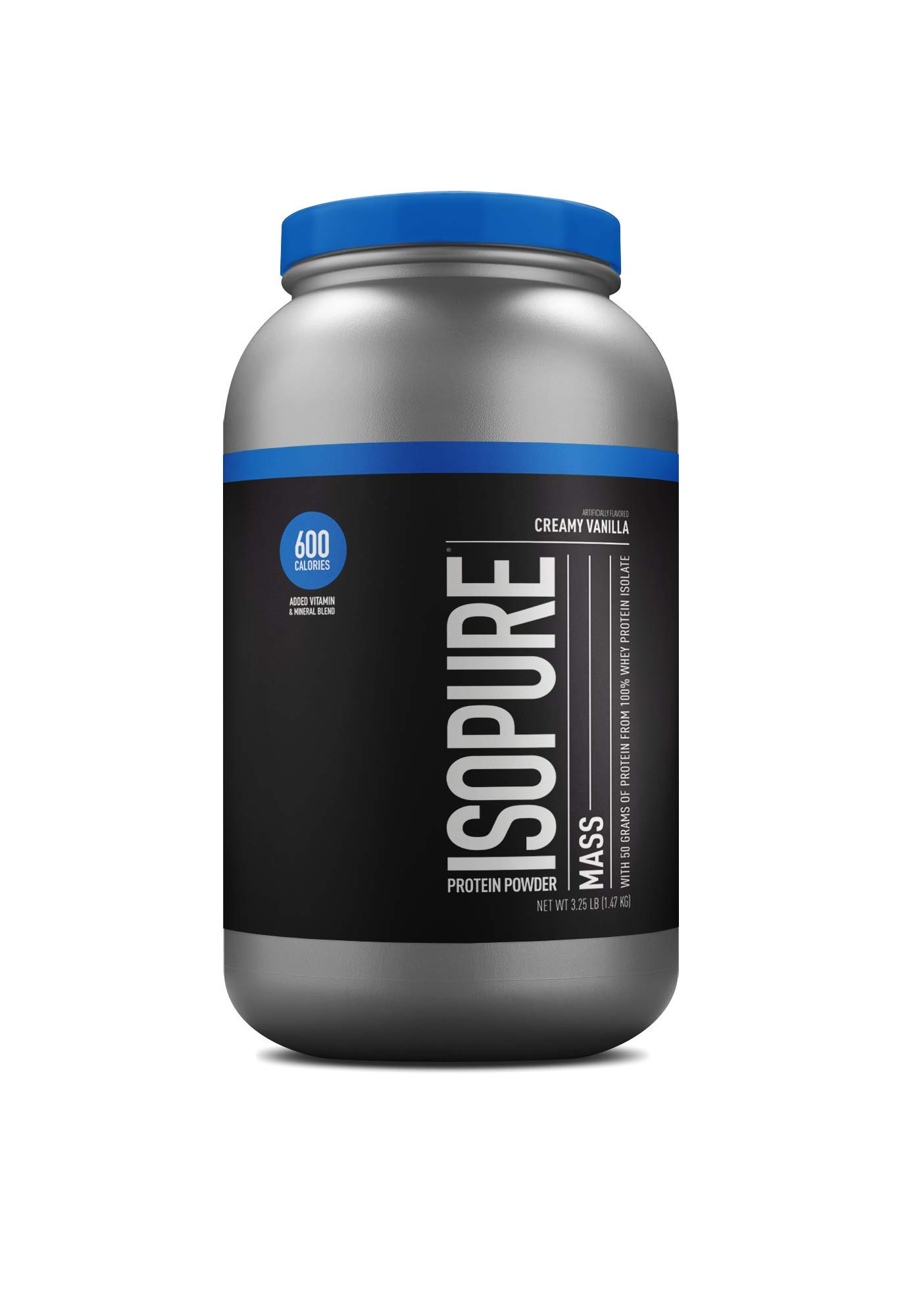 Isopure Mass Protein, Vitamin C and Zinc for Immune Support, 50g Protein, 600 Calories, Creamy Vanilla, 3.25-Pound Tub