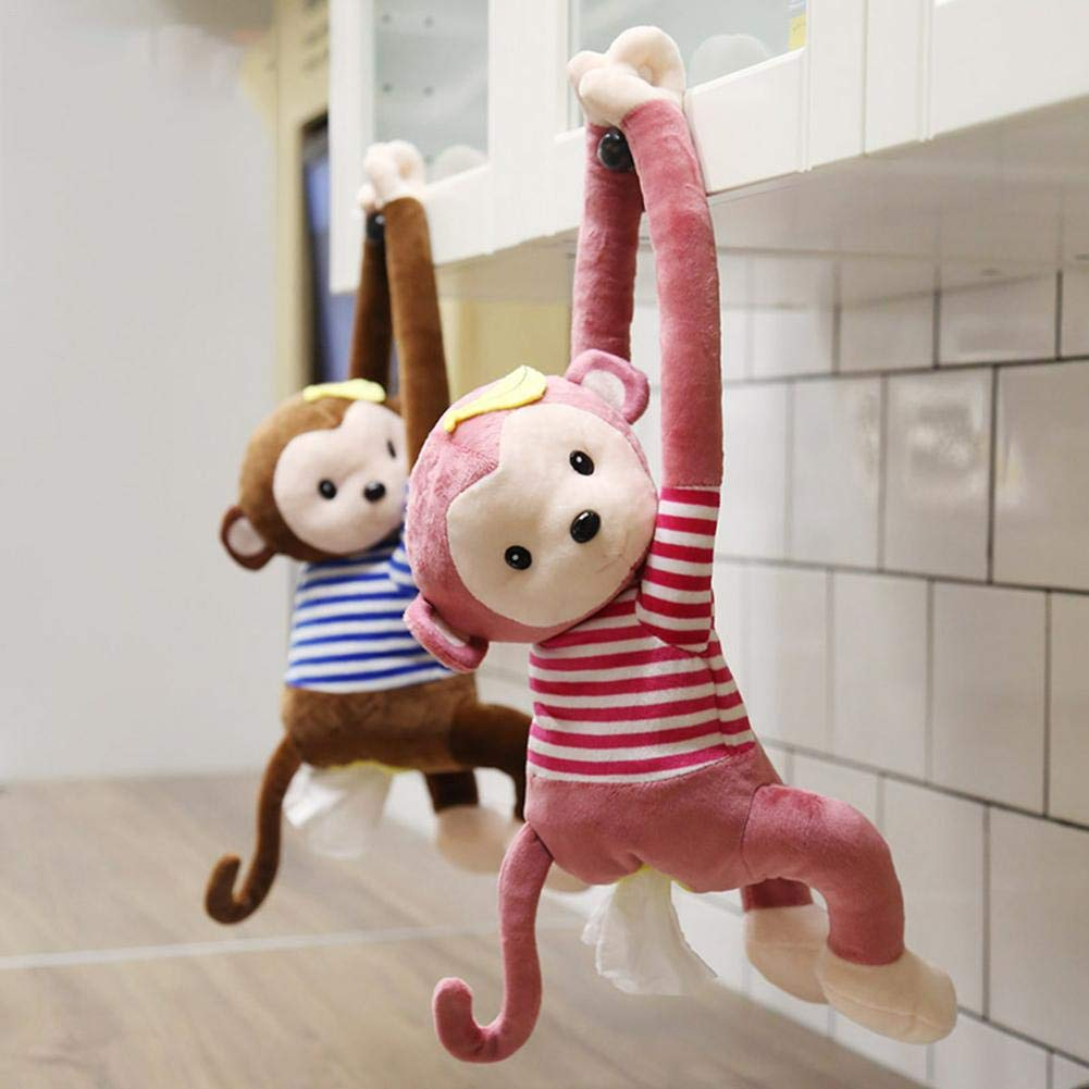 Caja de pa/ñuelos de coche Caja de servilletas colgantes de mono de dibujos animados creat Toallas de papel de mono lindo Soporte de almacenamiento para el ba/ño del ba/ño Encimeras de tocador Dormitorio