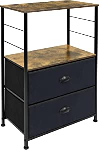 Sorbus Nightstand 2-Drawer Bedrooms - Bedside Table Furniture Shelf Storage & Accent End Table Chest for Home, Bedroom, Office, College Dorm, Steel Frame, Rustic Wood Top, Easy Pull Fabric Bins