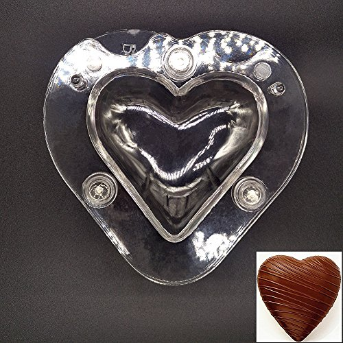 3D Large Heart Shape Chocolate Mold, Polycarbonate Candy Mould Food Grade Chocolate Mold DIY Chocolate PC Tray Clear Candy Handmade Fondant Molds Kitchen Tray Bar Mold Sweet Candy Mold Chocolate Tool (Heart Chocolate Mold)