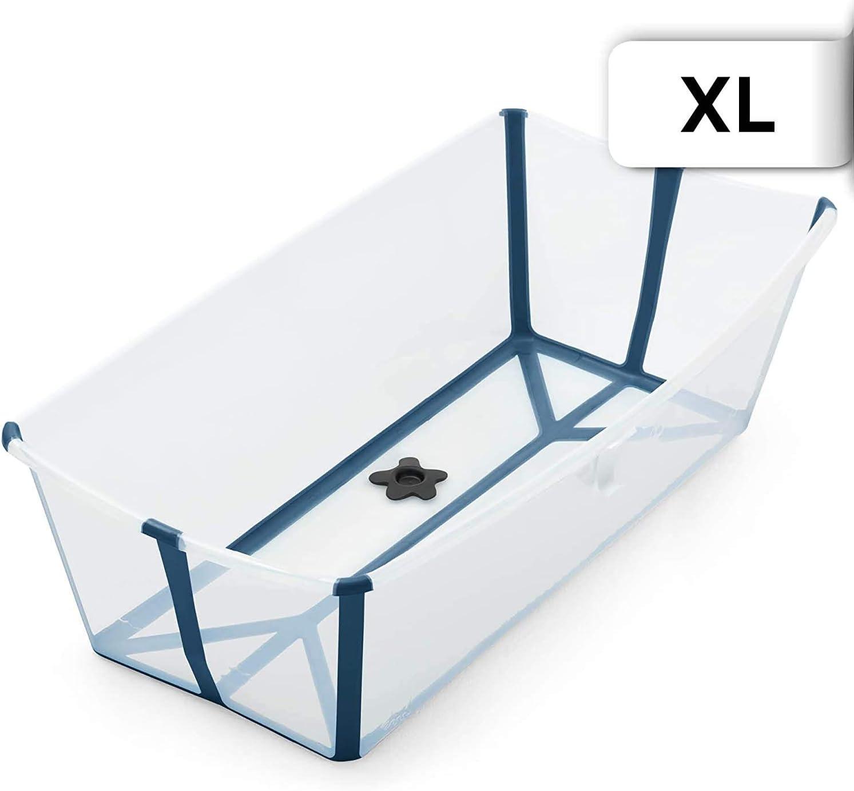 STOKKE® Flexi Bath® Extragrande - Bañera de bebé plegable para ducha │ Piscina portátil antideslizante para niños hasta los 6 años - Color: XL Transparent Blue