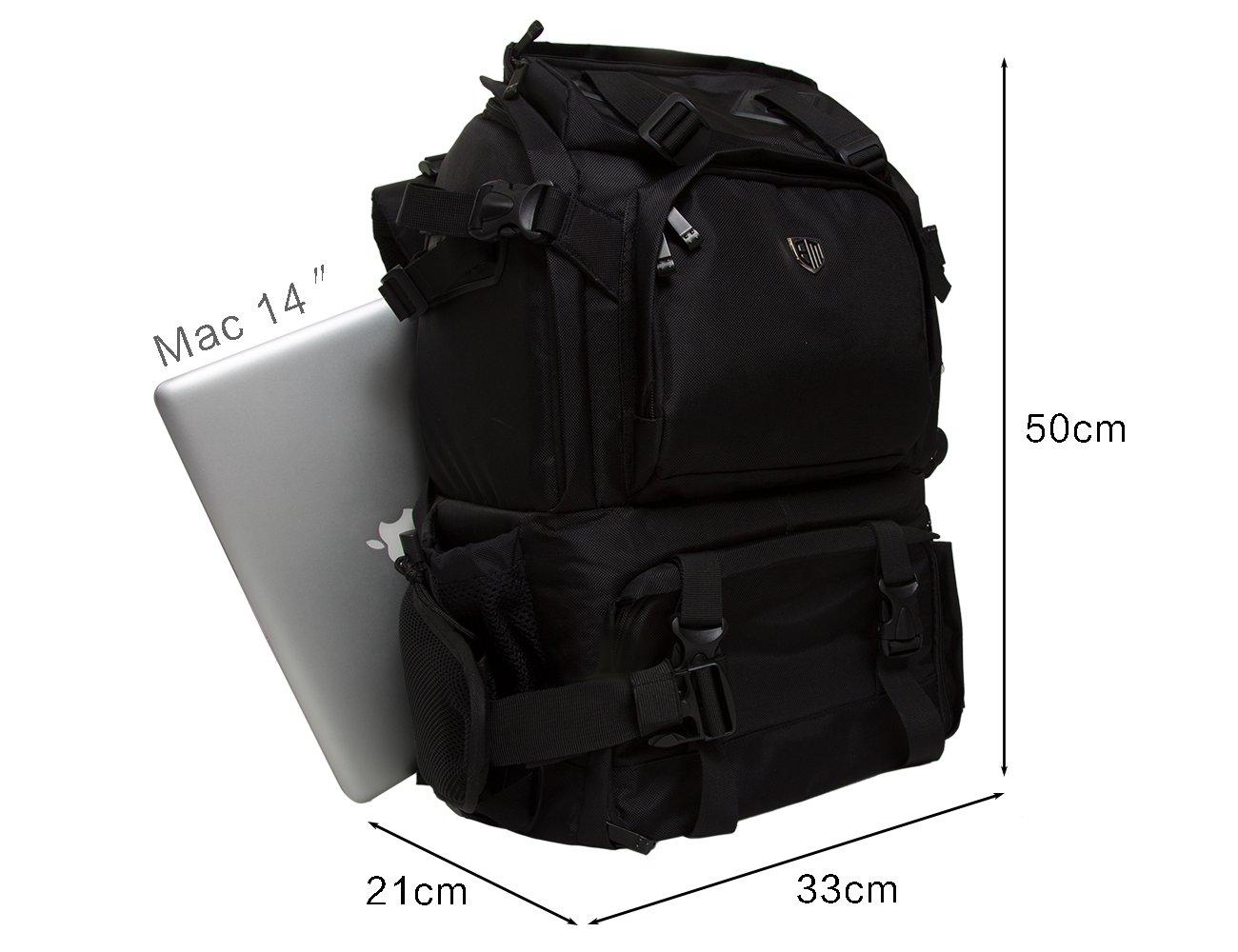 Black BAGASMART Anti-theft Professional Gear Backpack SLR//DSLR Camera Bag for 70-200mm Lens /& 15 Macbook Pro with Waterproof Rain Cover