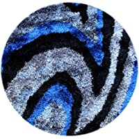 Masada Rugs, Shag Round Area Rug Soft and Luxurious Feel Blue (4 Feet X 4 Feet) Round