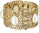 "1928 Jewelry Gold-Tone Simulated Pearl Stretch Bracelet, 2.5"""