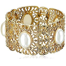 1928 Jewelry Gold-Tone Simulated Pearl Stretch Bracelet, 2.5""