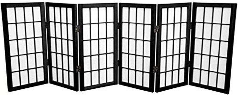 Oriental Furniture 2 ft. Tall Desktop Window Pane Shoji Screen - Black - 6 Panels