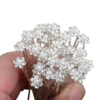 Tinksky Perni di capelli nuziali di 10pcs sposa damigella d onore perle  decorate capelli accessori d863ec3e46c6