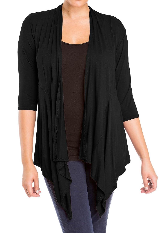 eVogues Women's Longline Drape Front Cardigan Black at Amazon ...