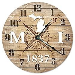 MICHIGAN CLOCK Established in 1837 Huge 15.5 to 16 COMPASS MAP RUSTIC STATE CLOCK Printed Wood Image