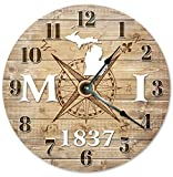MICHIGAN CLOCK Established in 1837 Decorative Round Wall Clock Home Decor Large 10.5″ COMPASS MAP RUSTIC STATE CLOCK Printed Wood Image For Sale