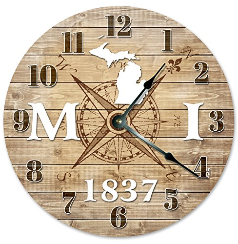 MICHIGAN CLOCK Established in 1837 Decorative Round Wall Clock Home Decor Large 10.5
