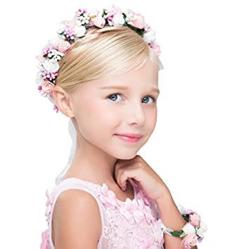 BABY TODDLER FLOWER GIRL LACE HEADBAND PHOTO PROP 2 ROSE BUDS PINK BIRTHDAY GIFT