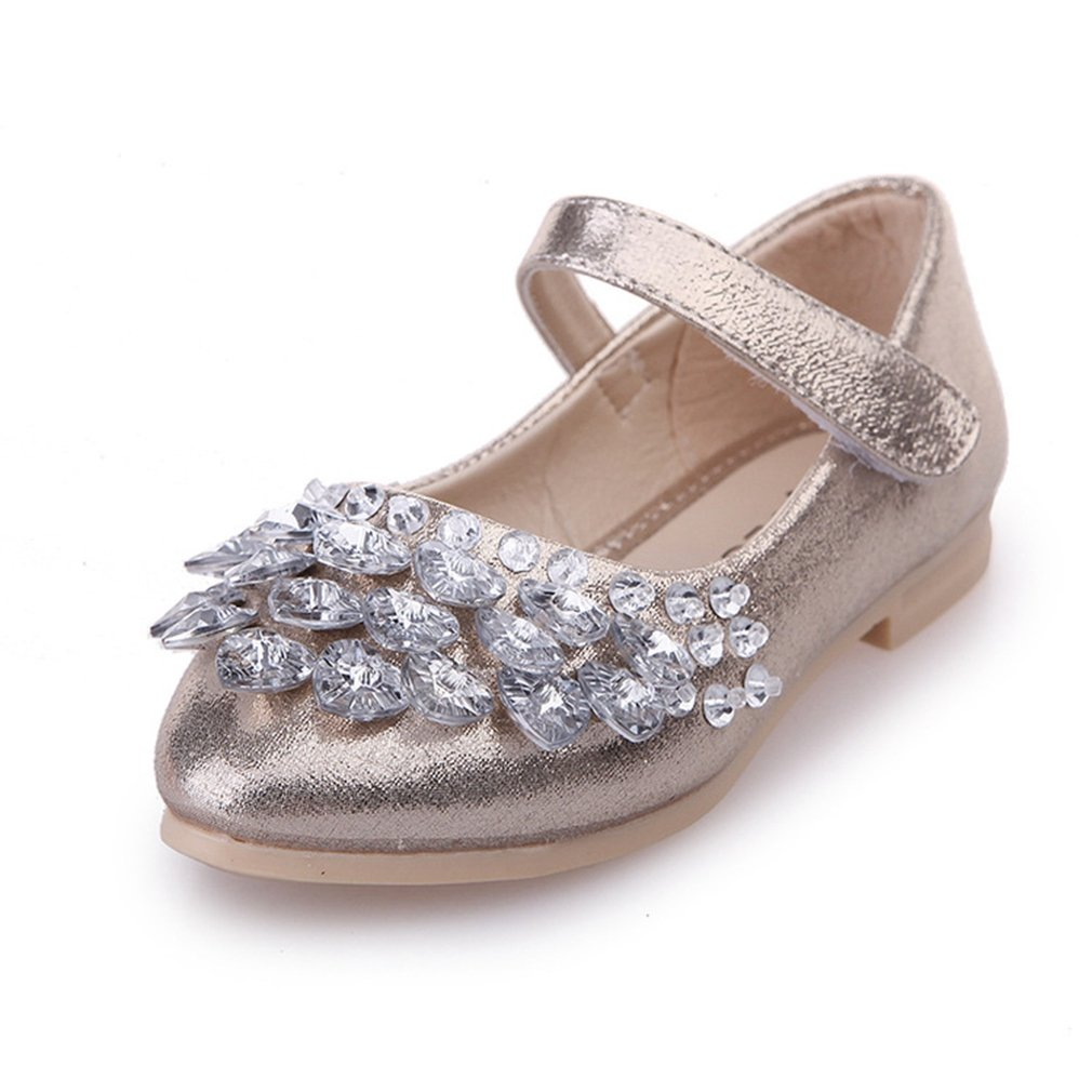 CYBLING Kids Girls Ballet Flats Glitter Crystal Princess Bridesmaid Wedding Party School Shoes Mary Janes