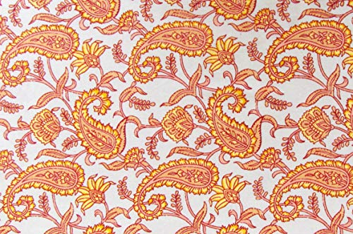 Hand Block Printed Cotton Fabric Indian Paisley Print for Sewing and Quilting 1 Yards by Craftbot