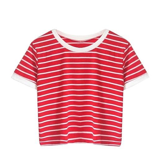 1b671ecacfb Amazon.com: Ankola Tank Top Women's Short Sleeve Striped Crop Top ...