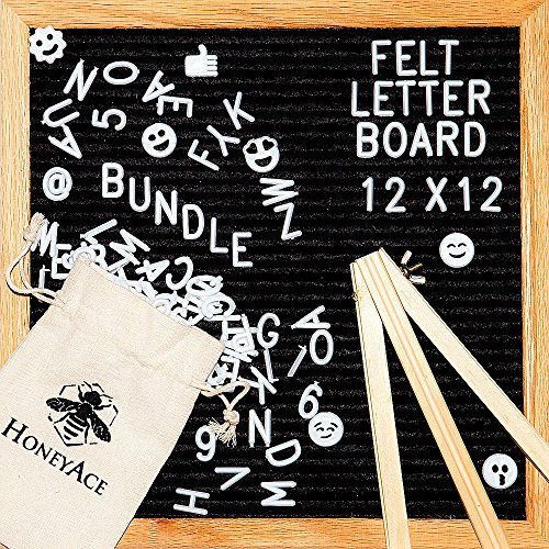 Felt Changeable Letter Board 12x12 Black Letter Board, Complete Bundle Includes: 290 White Plastic Letters/Numbers/Characters + 45 Emoji + Canvas Bag + Mount Hook + with Wooden Stand - HoneyAce