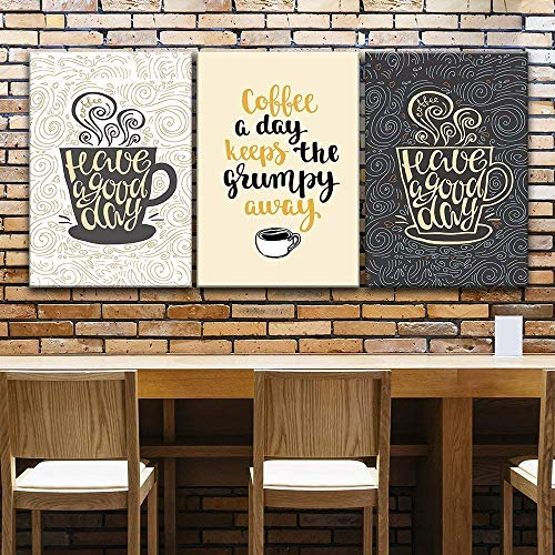 wall26 3 Panel Canvas Wall Art - Coffee Art with Quotes and Floral Texture Background - Giclee Print Gallery Wrap Modern Home Decor Ready to Hang - 24