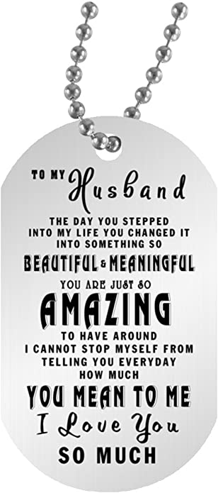 From Wife Romantic Dog Tag Necklace Silver Stainless Steel Pendant Sentimental Quotes Husband Gift For Husband Birthday