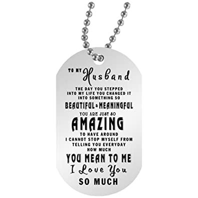 22b5a91e81 Amazon.com: To My Boyfriend, Husband Dog Tag Jewelry - Romantic Wedding  Gifts for Him From Girlfriend, Wife 30 inch silver beaded chain: Jewelry