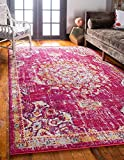 Unique Loom Penrose Collection Traditional Vintage Distressed Magenta Area Rug (5′ x 8′)