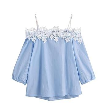 Blusa Mujeres Amlaiworld Mujeres Moda Manga larga De hombro Blusa tops (L, Azul)