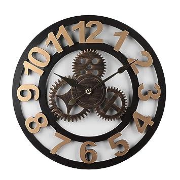 Mecotech 50CM Reloj Pared Grande Madera Vintage Engranajes Silencioso Reloj de Pared para Cocina: Amazon.es: Hogar