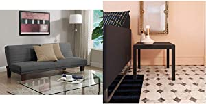 DHP Dillan Convertible Futon with Microfiber Upholstery, Grey & Ameriwood Home Parsons Modern End Table, Black