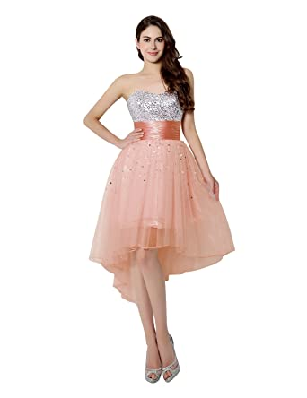 Sarahbridal Womens Hi Lo Prom Dresses 2018 Sequin Tulle Sweetheat Homecoming Party Gowns Blush US2