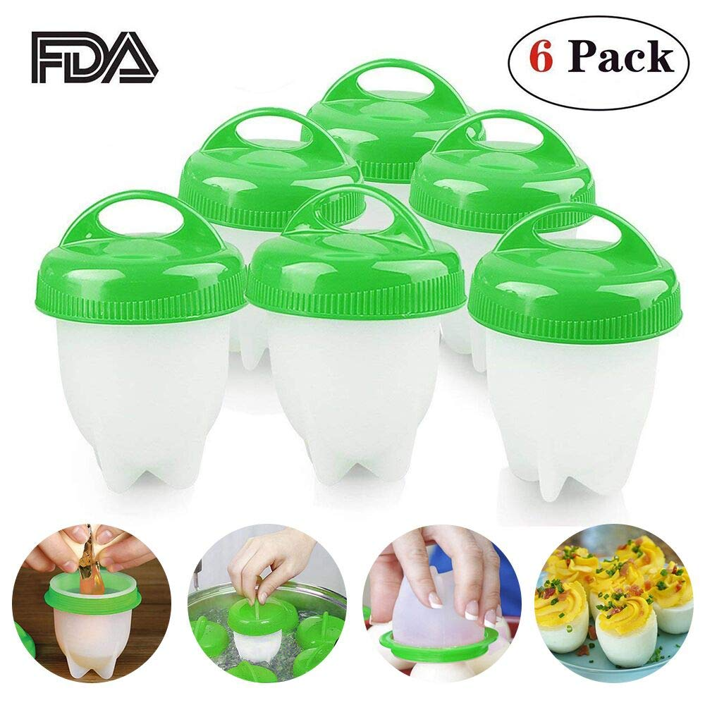 Egg Cooker, Eggibles Egg Cooker, Hard and Soft Make, No Shell, Non Stick Silicone, BPA Free, Egg Boiler, Egg Cups, Egg Poachers, AS SEEN ON TV (6 Pack)