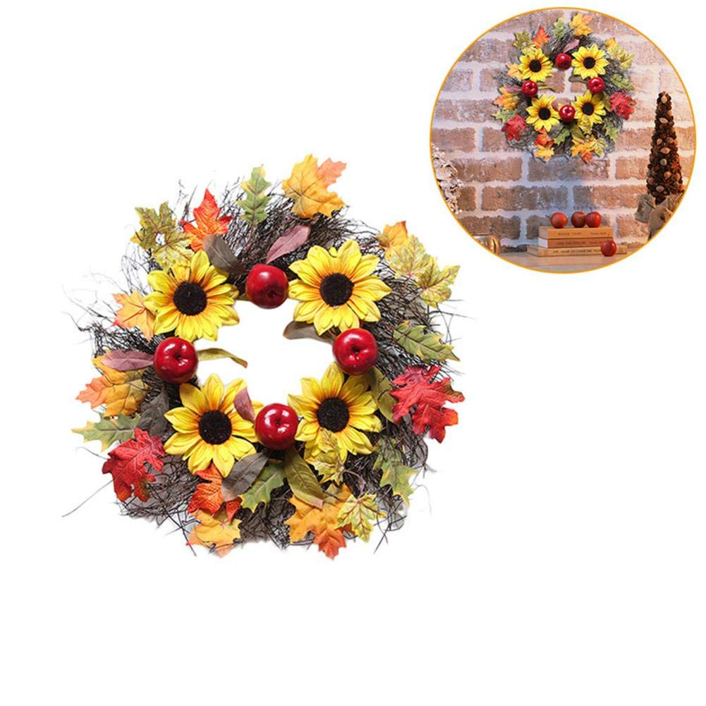 VOVI Christmas Pumpkin Wreaths for Window Home Pendant Thanksgiving Decoration Handcrafted 60cm Halloween Maple Leaves Wreath Hand-Made Maple Leaf Ornaments Halloween Berry Vine for Festival