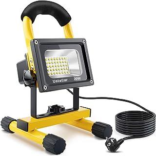 Ustellar 1600LM Faretto LED Portatile da Lavoro, 20W LED Lampada Esterni da Campeggio, Illuminazione Lavoro Notturna per Giardino