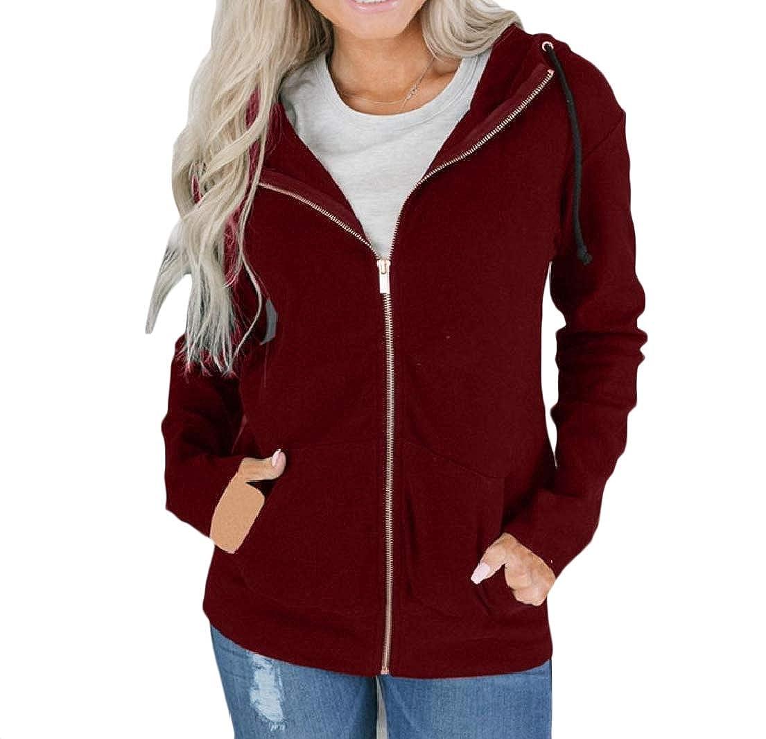 Vska Womens with Zips Pure Color Long-Sleeve Pocket Pocket Sweatshirt