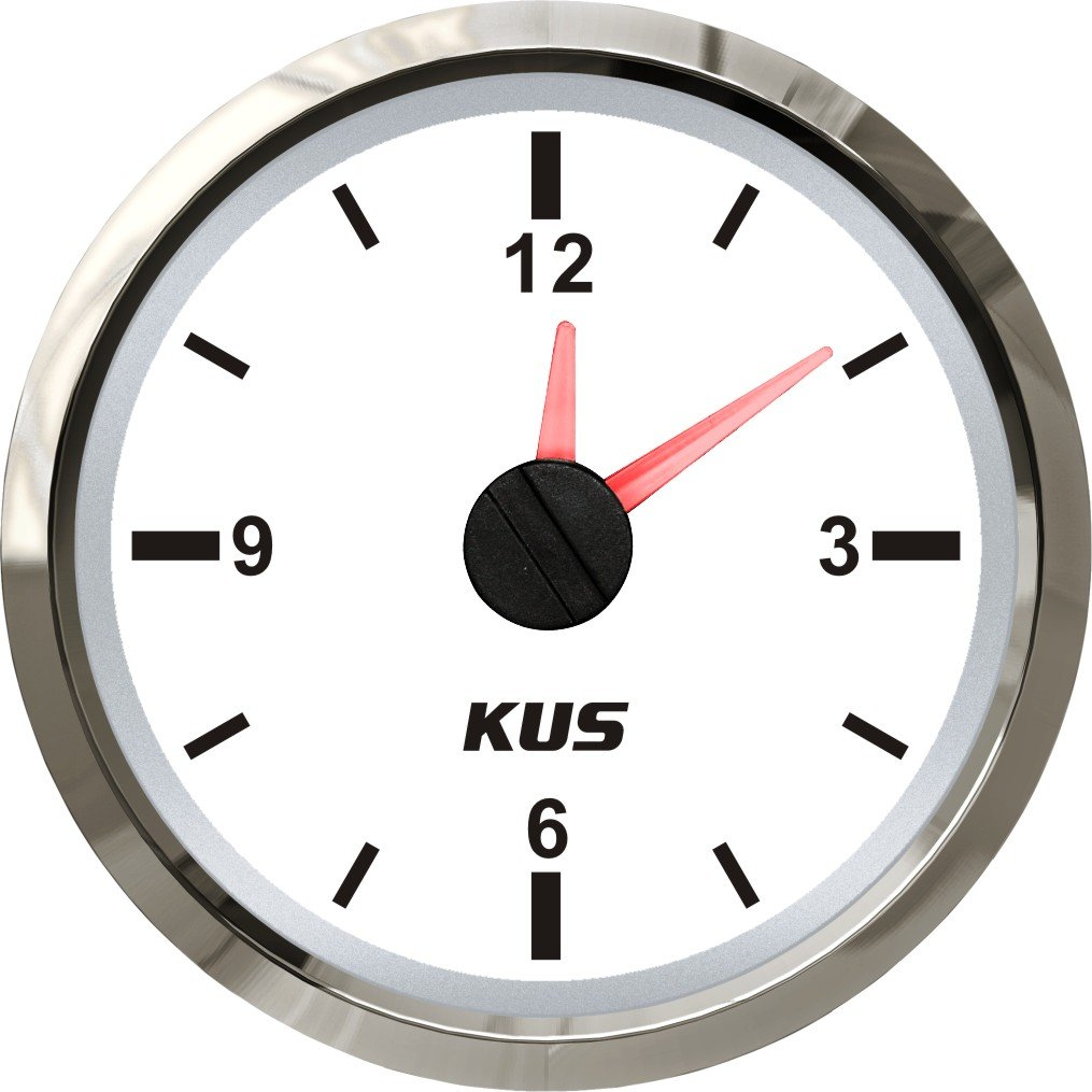 KUS Clock Meter Gauge 12-Hour Format with Backlight 52mm(2'') 12V/24V