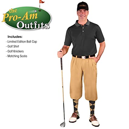2308e08b Golf Knickers Mens Outfit - Khaki Microfiber, Limited Edition Ball Cap,  Over-The