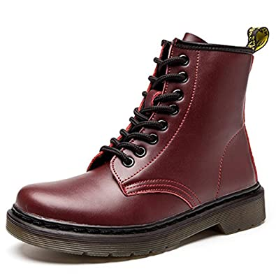 Womens Fashion Leather Ankle Bootie Casual Lace up Short Combat Boots For Winter