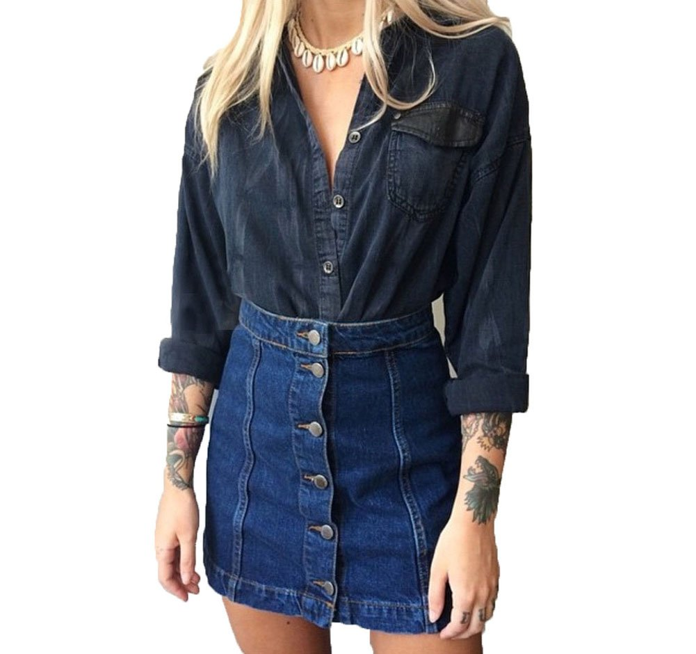 MINDENG Women Wash Denim Pencil A line Ripped Bodycon Button Through Mini Skirt