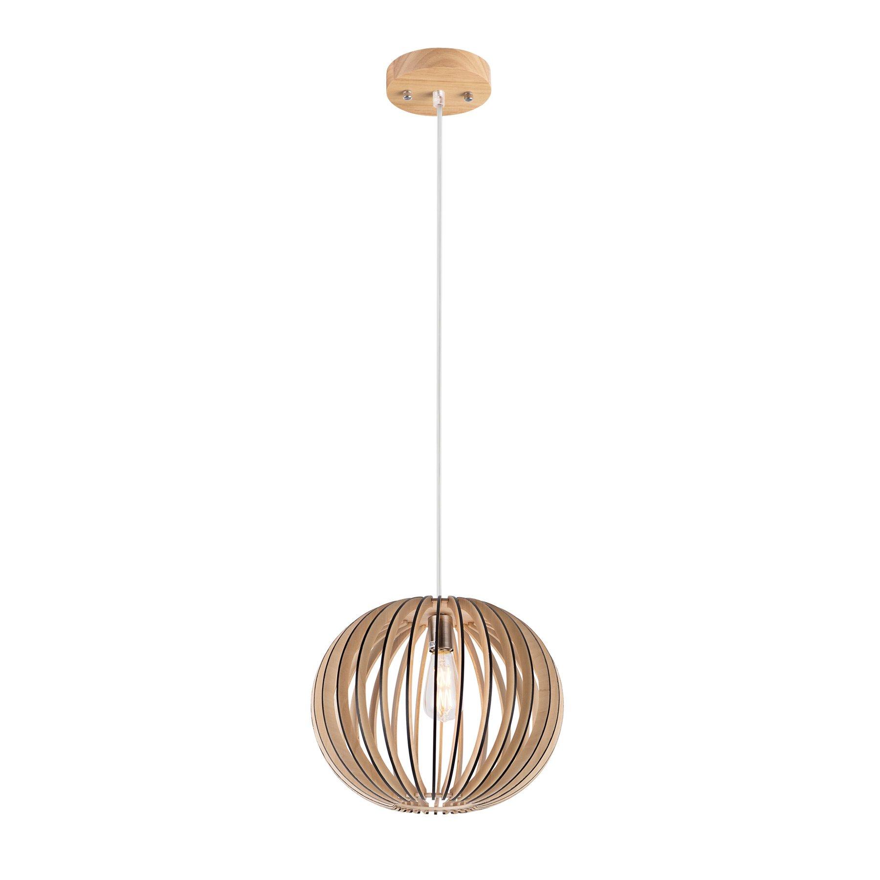 MAYKKE Melros Medium Wooden Pendant Lamp | Modern & Contemporary Hanging Ceiling Light | Lantern-Shaped Home Decor Lighting for Living Room, Kitchen | Natural Wood Finish MDB1100102