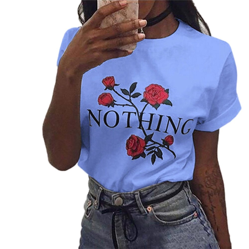 Ulanda Damen Sommer Shirt Teenager Mädchen Casual Baumwolle Bluse Loose Kurzarm Rose Druck Muster Nothing Tops Hemd Oberteile Pullover T-Shirt